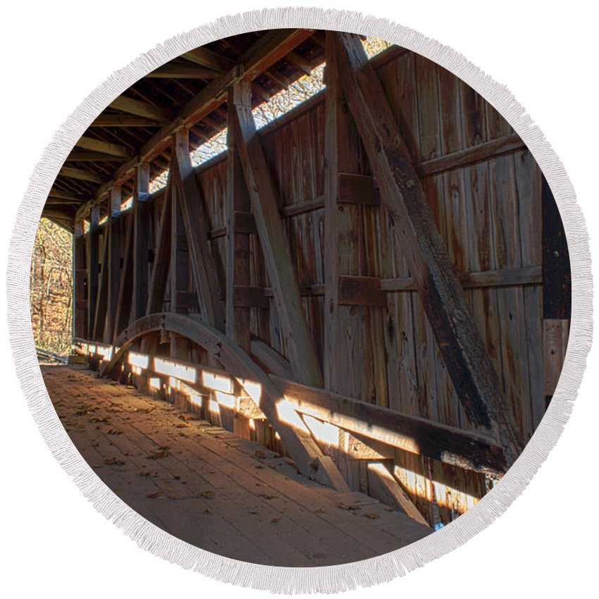 Covered Bridge Round Beach Towel featuring the photograph Bridge 38 by Thomas Sellberg