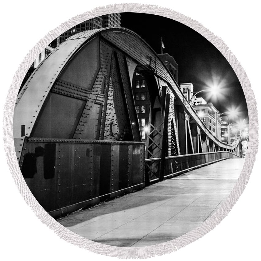 Sidewalk Round Beach Towel featuring the photograph Bridge Arches by Melinda Ledsome