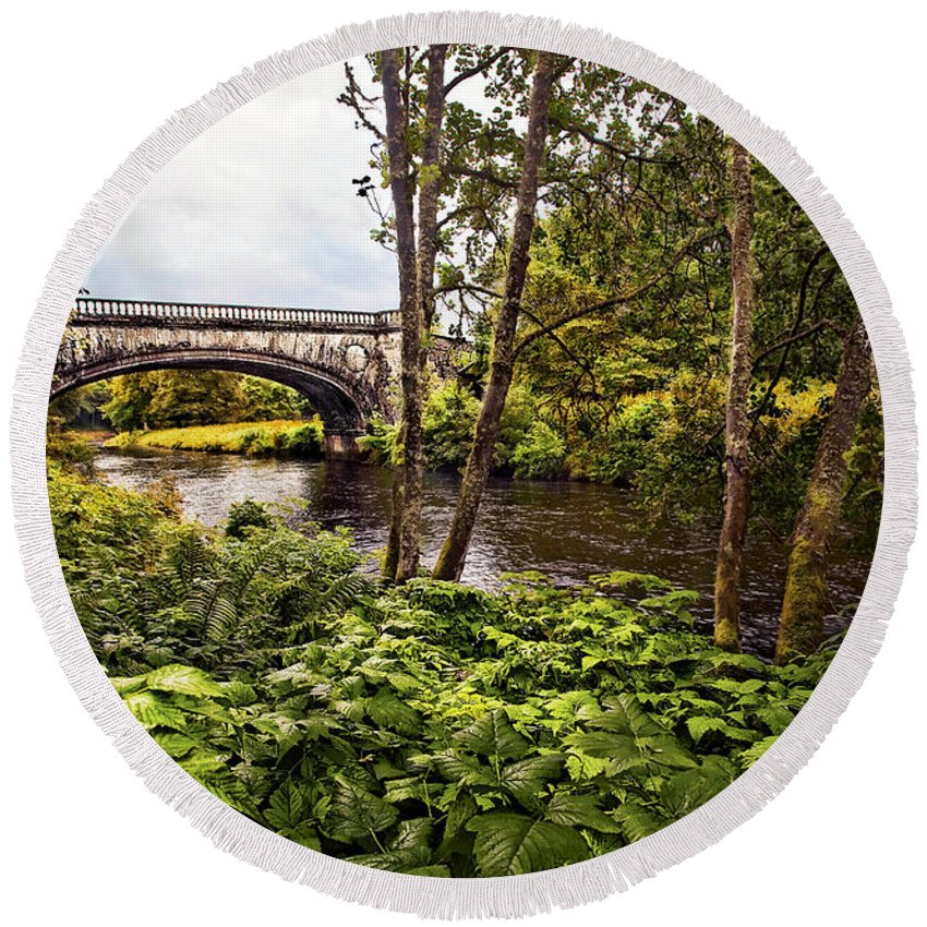 Landscape Round Beach Towel featuring the photograph Bridge At Iveraray Castle by Marcia Colelli