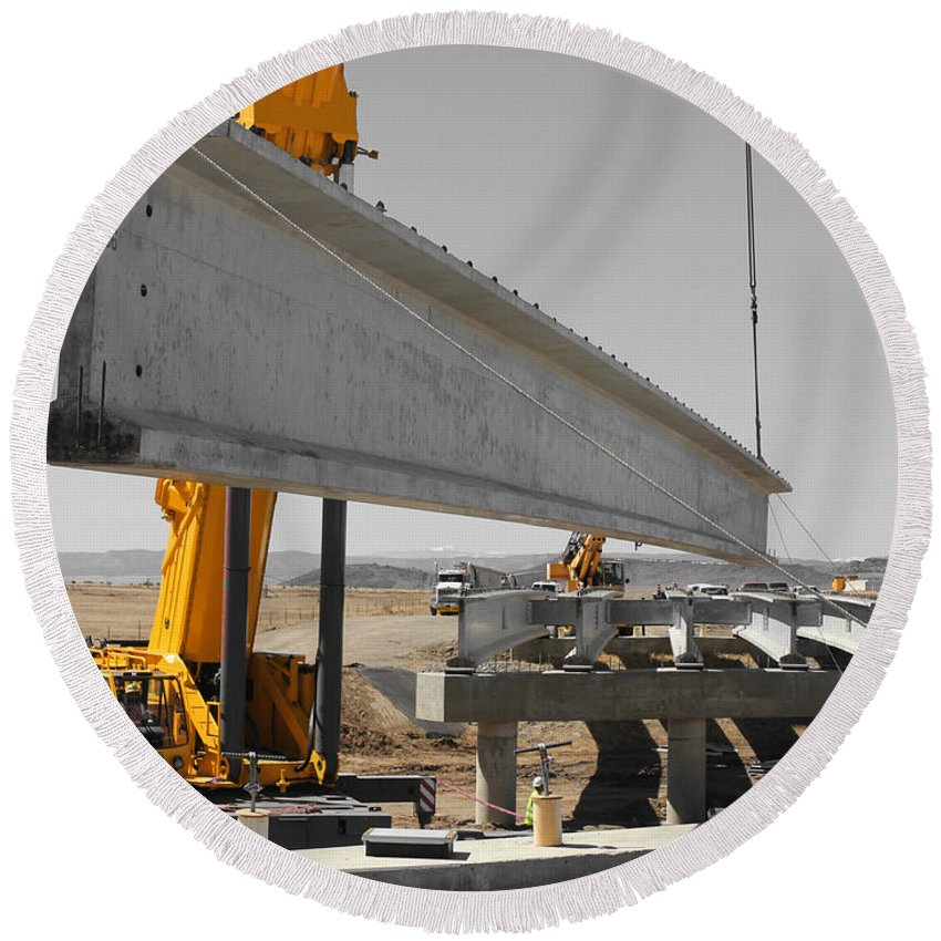 Construction Round Beach Towel featuring the photograph Bridge Building Bw by Chris Martin