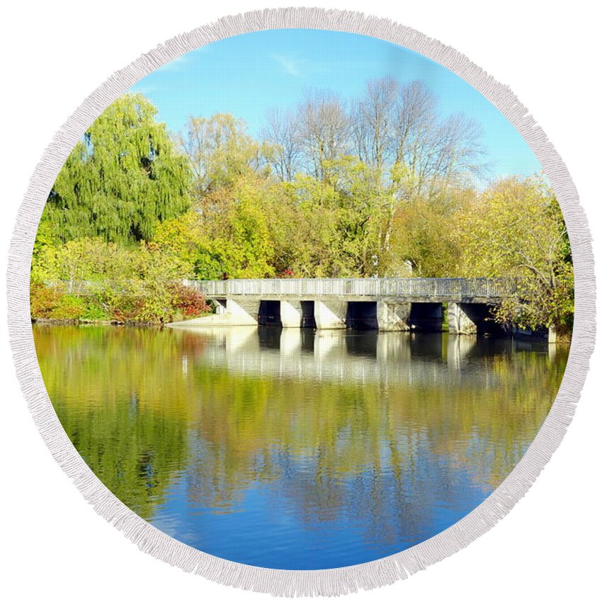 Autumn Round Beach Towel featuring the photograph Bridge In A Park by Valentino Visentini