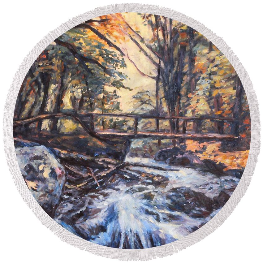 Creek Round Beach Towel featuring the painting Morning Bridge In Woods by Kendall Kessler