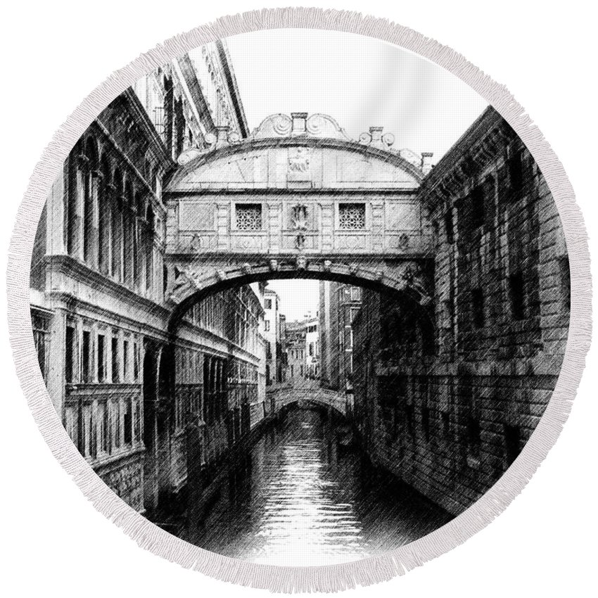 Bridge Of Sighs Round Beach Towel featuring the photograph Bridge Of Sighs Pencil by Jenny Hudson