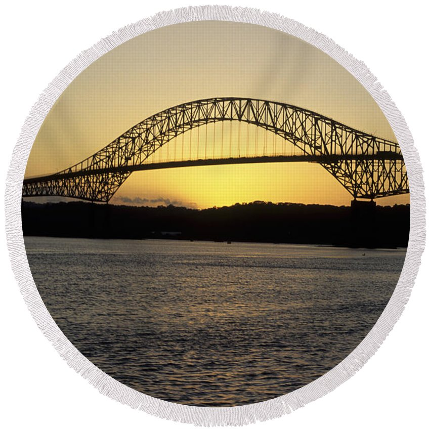 Panama Round Beach Towel featuring the photograph Bridge Of The Americas Panama by James Brunker