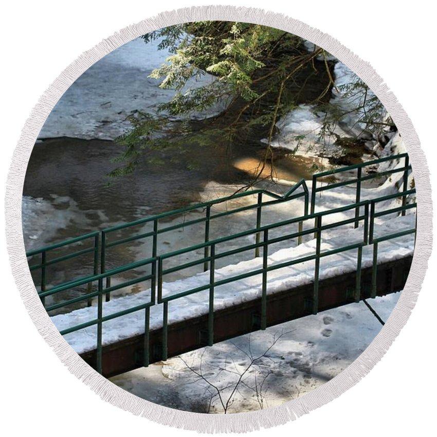 Bridge Over Frozen River Round Beach Towel featuring the photograph Bridge Over Frozen River by Dan Sproul