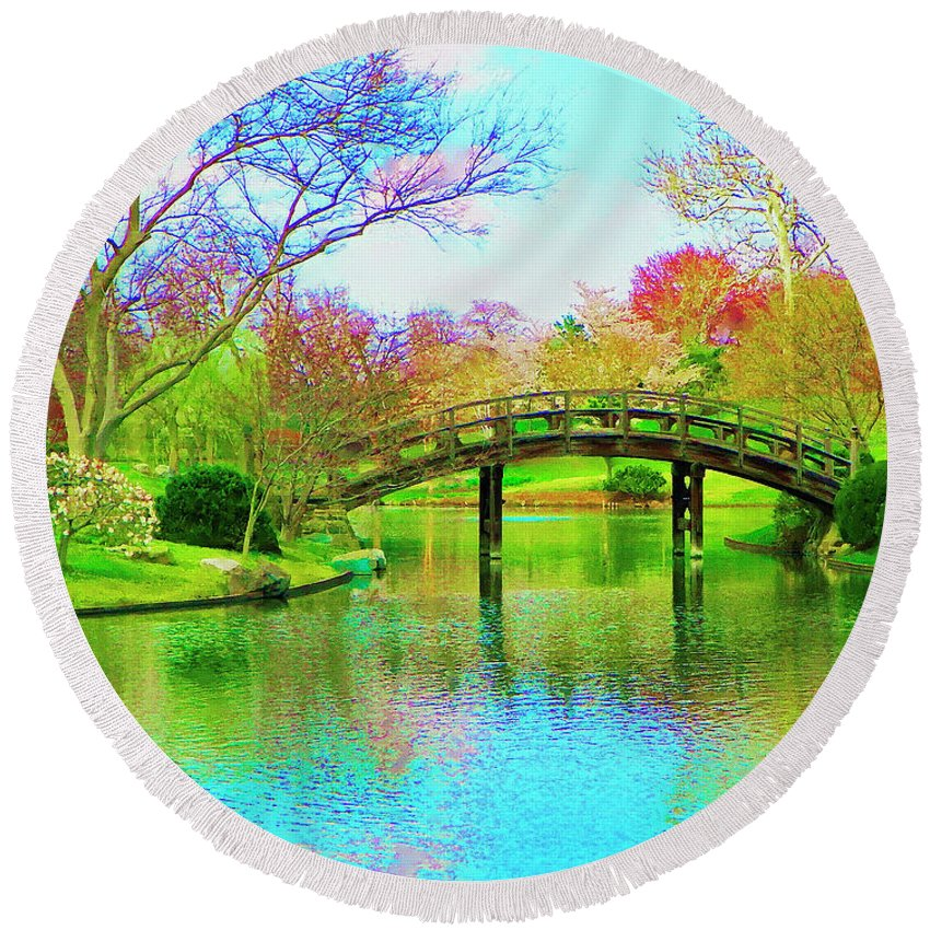 Bridge Round Beach Towel featuring the painting Bridge Over Lake In Spring by Susanna Katherine