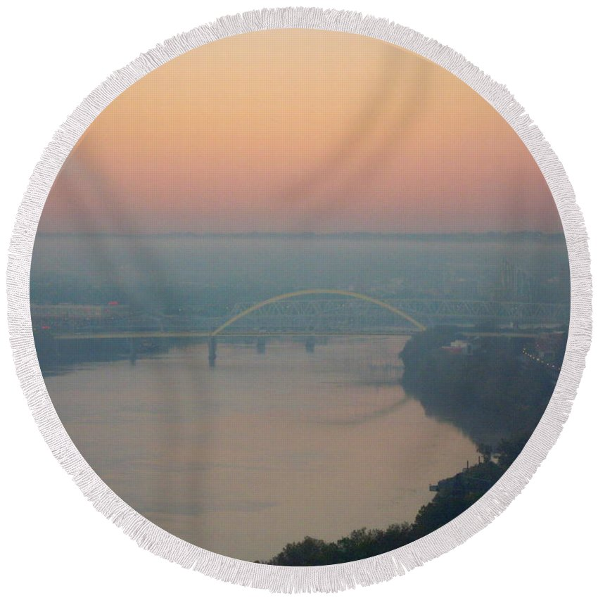 Ohio River Round Beach Towel featuring the photograph Bridge Over The Ohio by Ellen Meakin