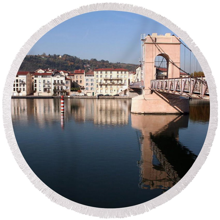 Bridge Round Beach Towel featuring the photograph Bridge Over The Rhone River by Laurel Talabere