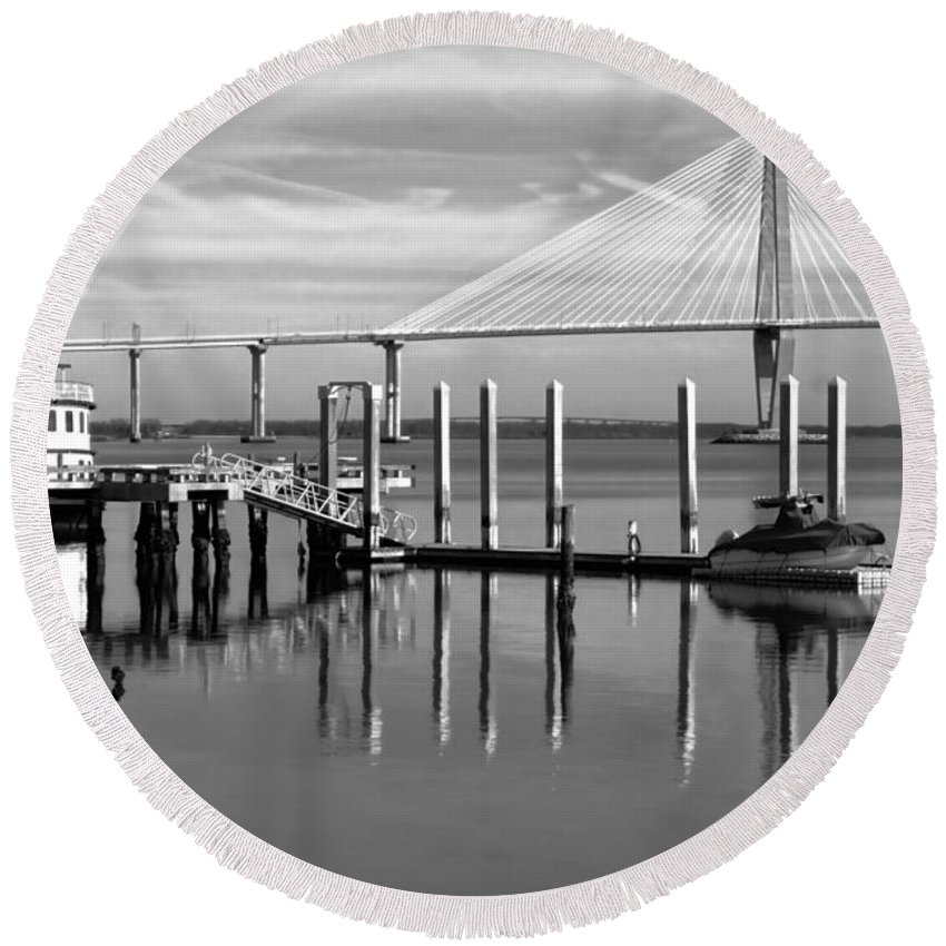 Ravenel Round Beach Towel featuring the photograph Bridge To Mount Pleasant - Black And White by Jenny Hudson