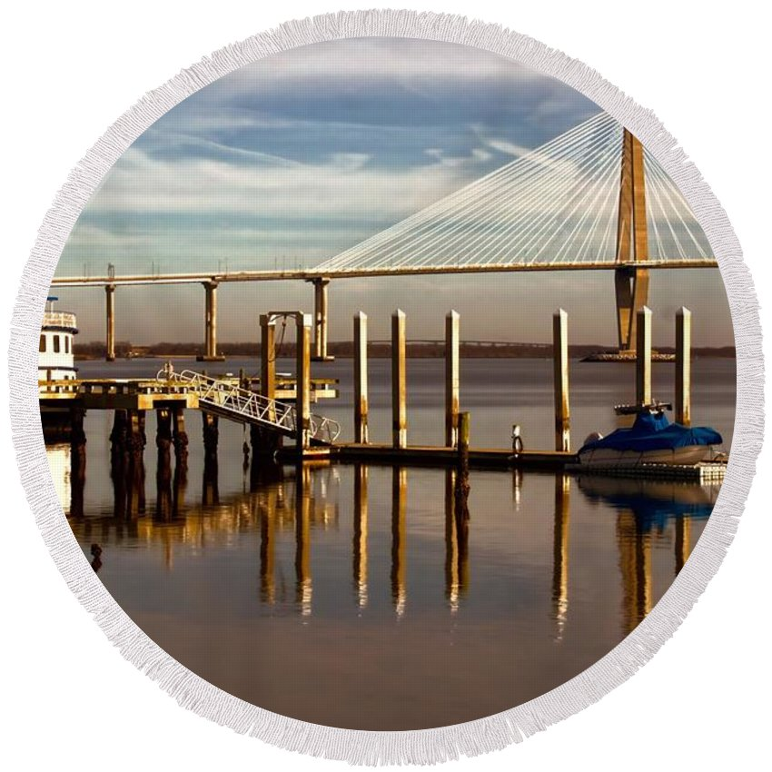 Ravenel Round Beach Towel featuring the photograph Bridge To Mount Pleasant by Jenny Hudson