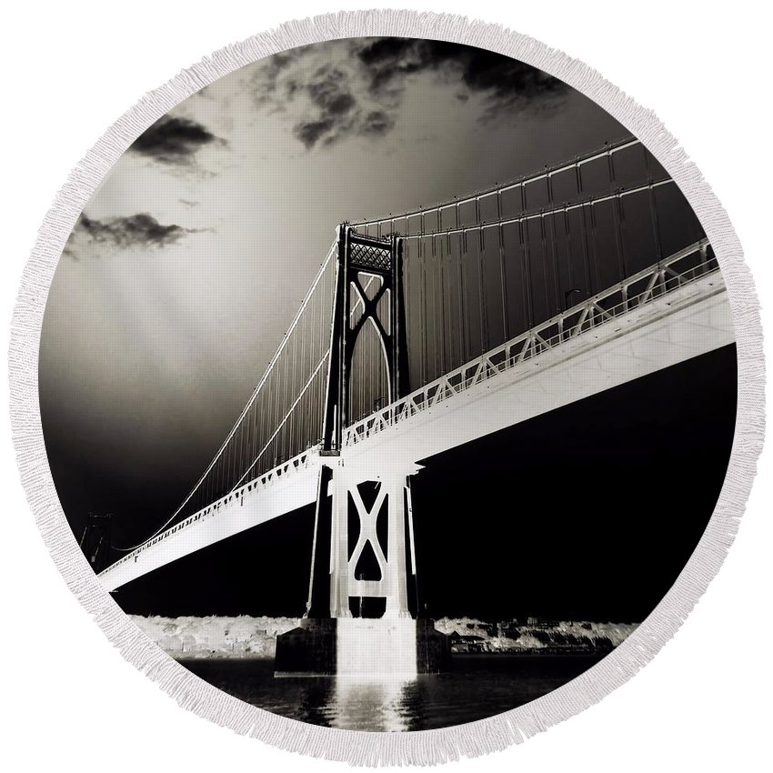 Hudson River Round Beach Towel featuring the photograph Bridge To Poughkeepsie 2 by Chet B Simpson