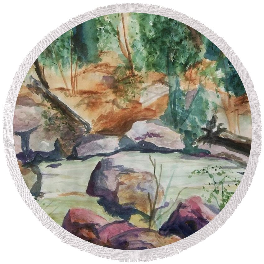 Jemez Round Beach Towel featuring the painting Bridge To The Hot Springs by Ellen Levinson