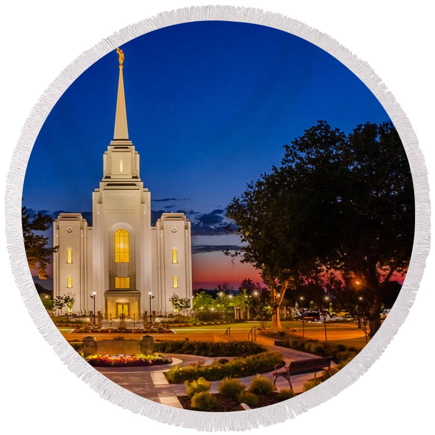 Brigham City Temple Round Beach Towel featuring the photograph Brigham City Temple Twilight 1 by La Rae Roberts