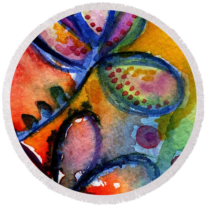 Abstract Round Beach Towel featuring the painting Bright Abstract Flowers by Linda Woods