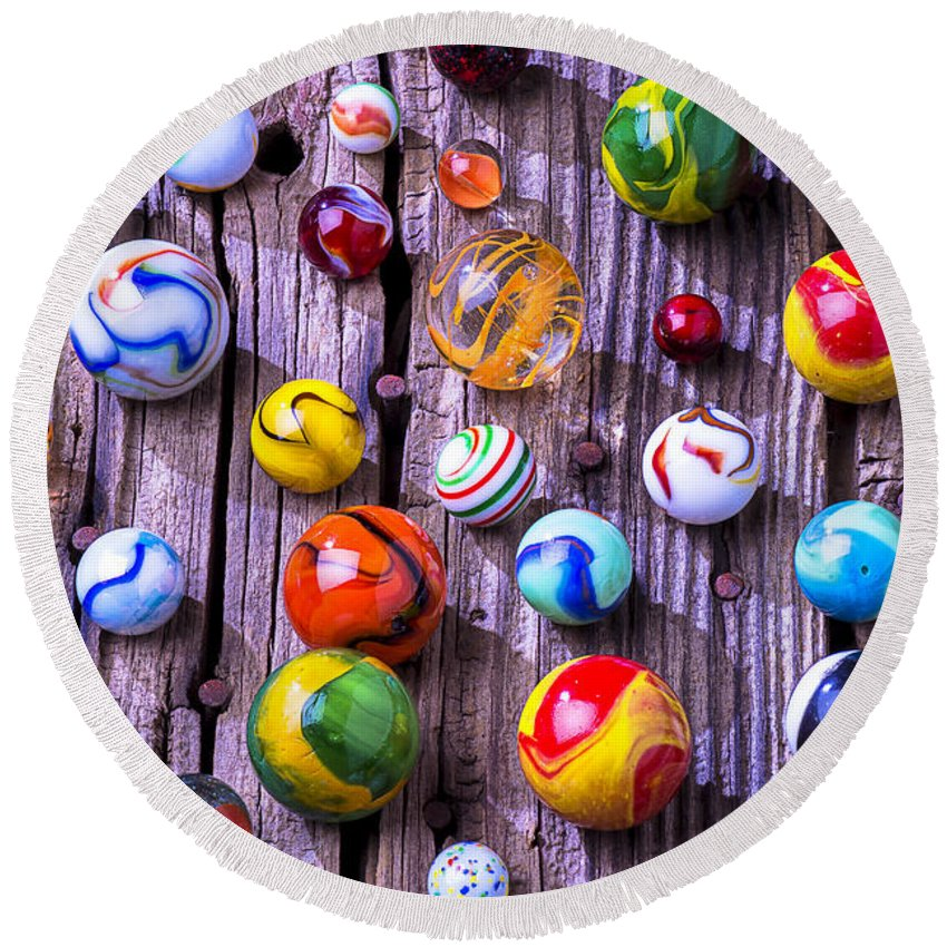 Marbles Round Beach Towel featuring the photograph Bright Colorful Marbles by Garry Gay