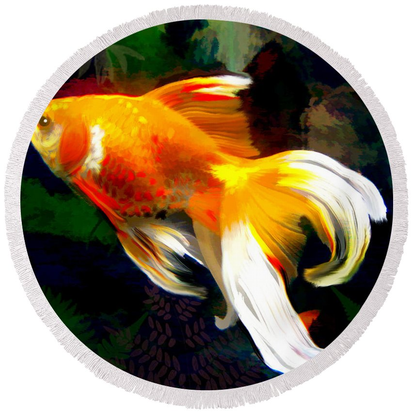Fish Round Beach Towel featuring the painting Bright Golden Fish In Dark Pond by Elaine Plesser