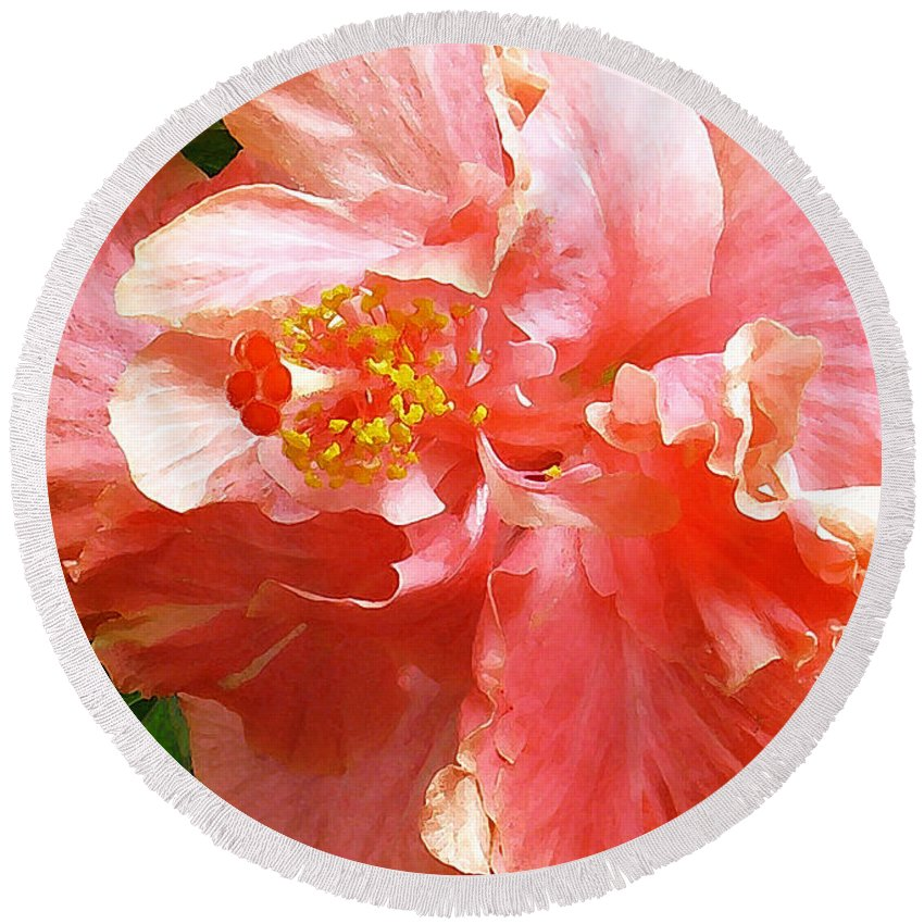 Hibiscus Round Beach Towel featuring the digital art Bright Pink Hibiscus by James Temple