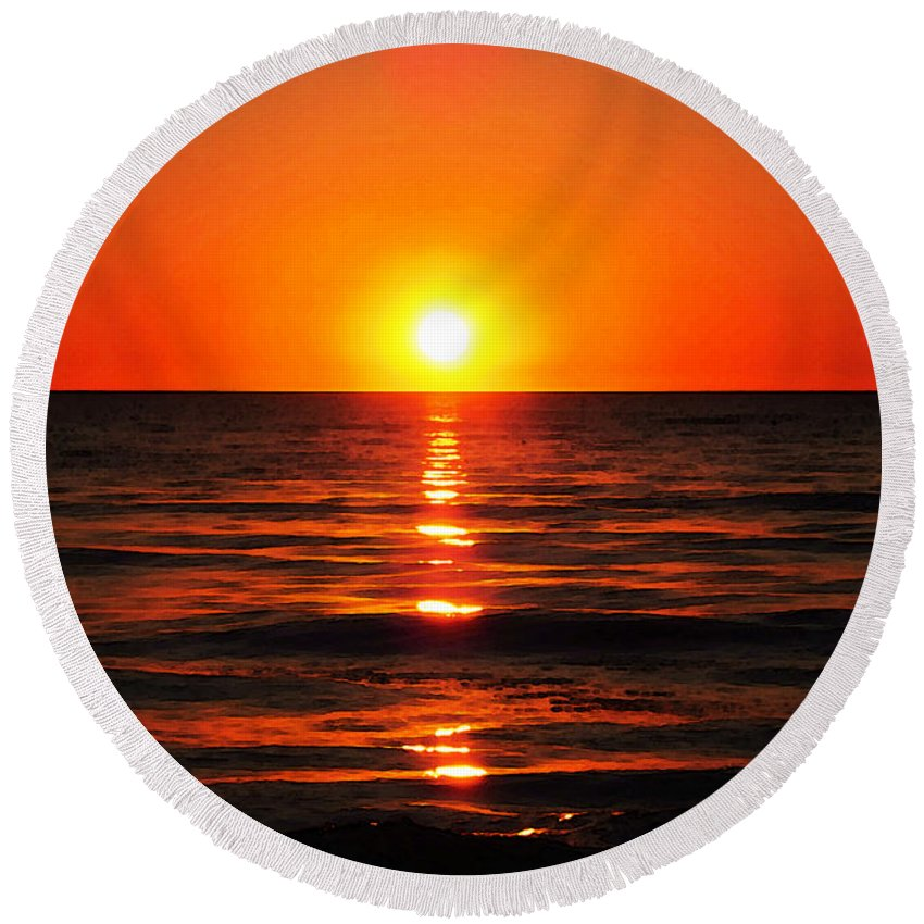 Ocean Round Beach Towel featuring the painting Bright Skies - Sunset Art By Sharon Cummings by Sharon Cummings