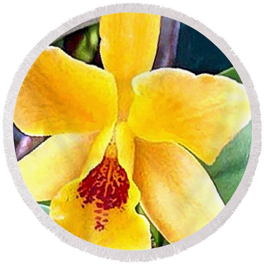 Orchid Round Beach Towel featuring the painting Bright Yellow And Red Cattleya Orchid by Elaine Plesser