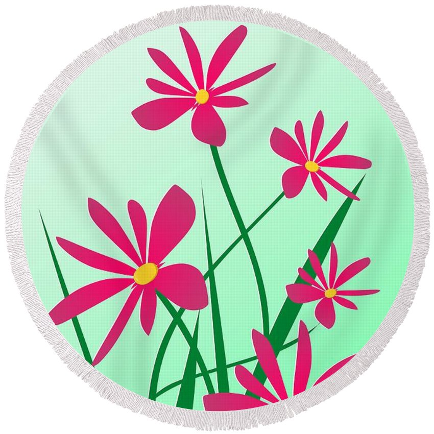 Graphic Round Beach Towel featuring the digital art Brighten Your Day by Anastasiya Malakhova