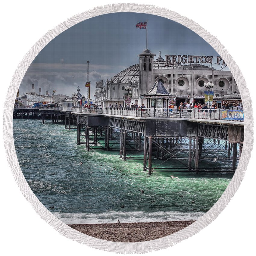 Brighton Pier Round Beach Towel featuring the photograph Brighton Pier by Jasna Buncic