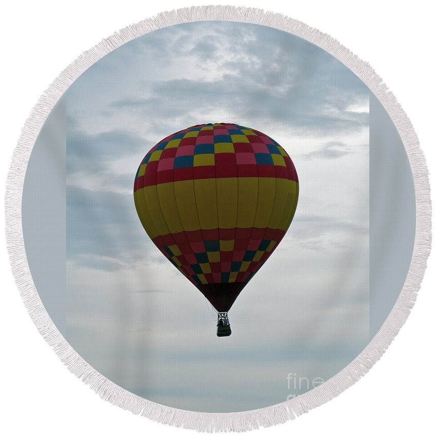 Hot Air Balloons Round Beach Towel featuring the photograph Brilliant Cloudiness by Jamie Smith