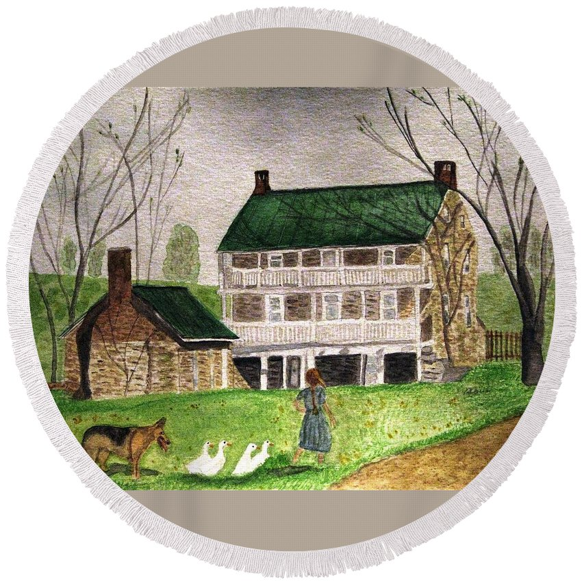 Farms Round Beach Towel featuring the painting Bringing Home The Ducks by Angela Davies