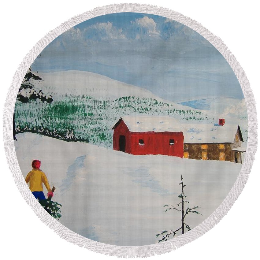 Landscape Round Beach Towel featuring the painting Bringing Home The Tree by Norm Starks