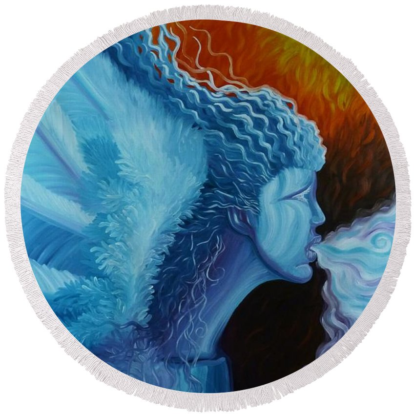 Angel Round Beach Towel featuring the painting Bringing In Winter by Dale Crum
