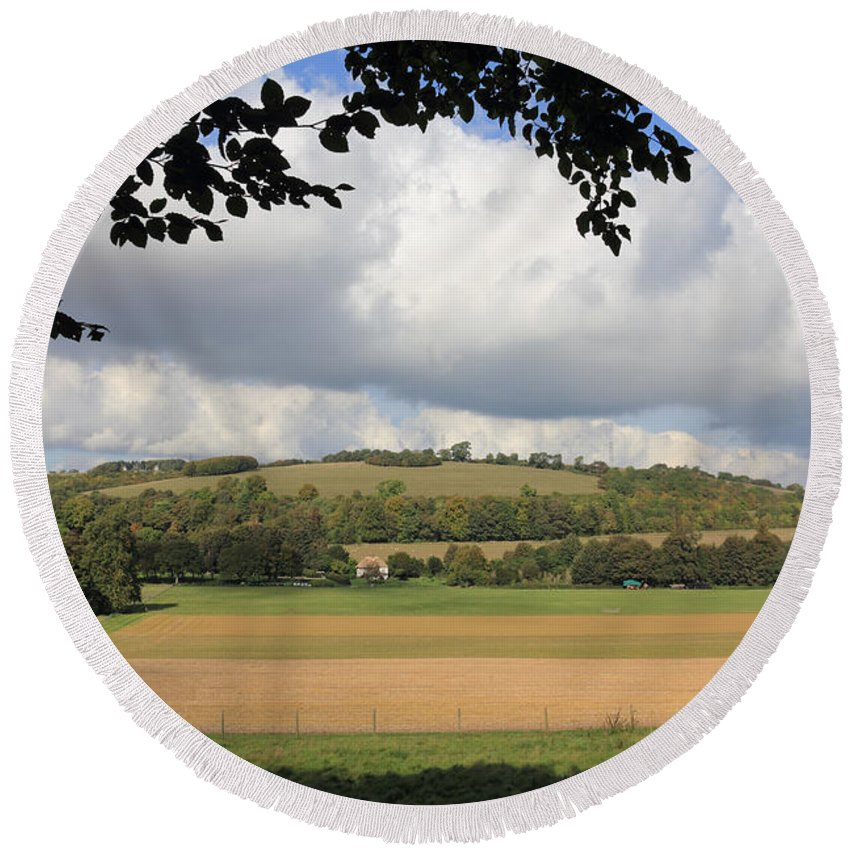 Traditional Countryside Landscape Sussex Uk Round Beach Towel featuring the photograph British Countryside Sussex Uk by Julia Gavin