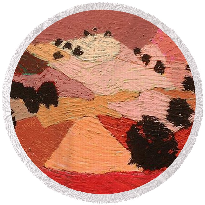 Landscape Round Beach Towel featuring the painting Broad View by Allan P Friedlander