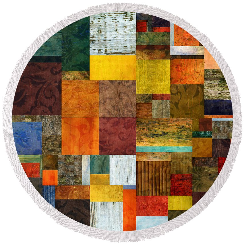 Brocade Round Beach Towel featuring the digital art Brocade Color Collage 1.0 by Michelle Calkins