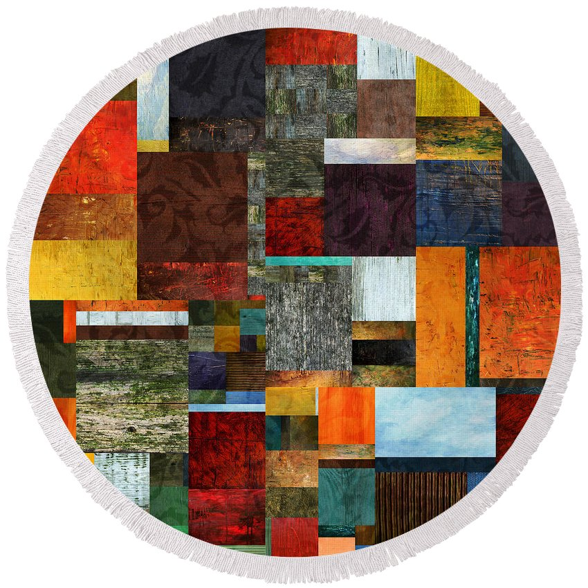 Collage Round Beach Towel featuring the digital art Brocade Color Collage 2.0 by Michelle Calkins