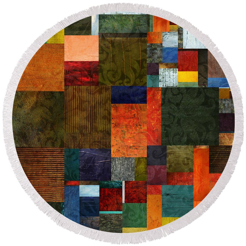 Brocade Round Beach Towel featuring the digital art Brocade Color Collage 3.0 by Michelle Calkins