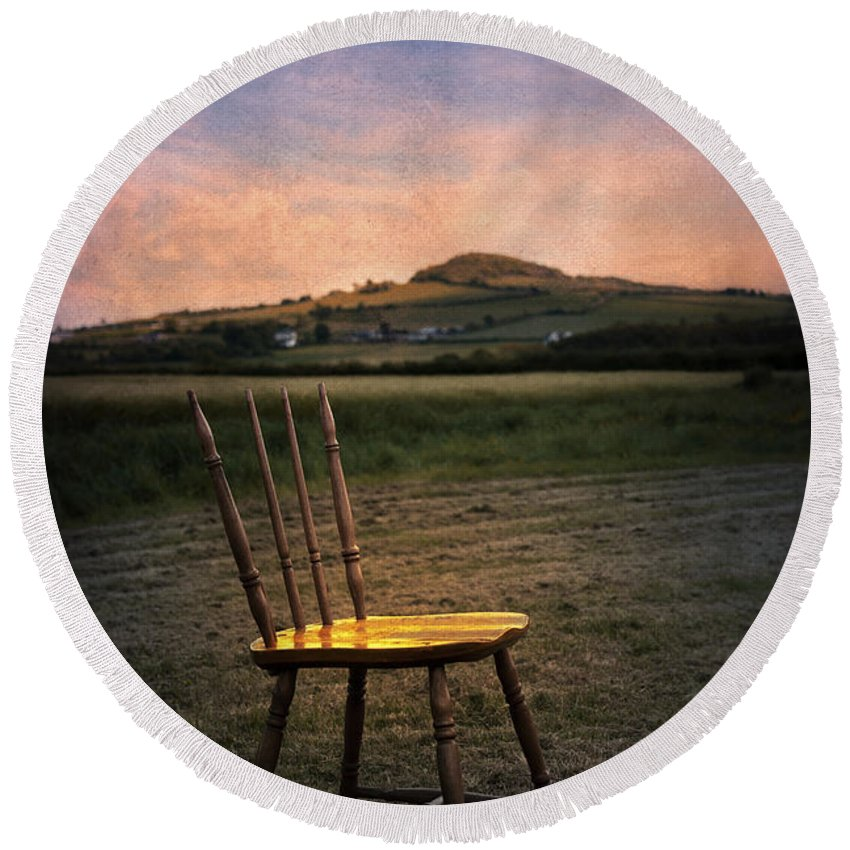 Empty Round Beach Towel featuring the photograph Broken Chair by Svetlana Sewell