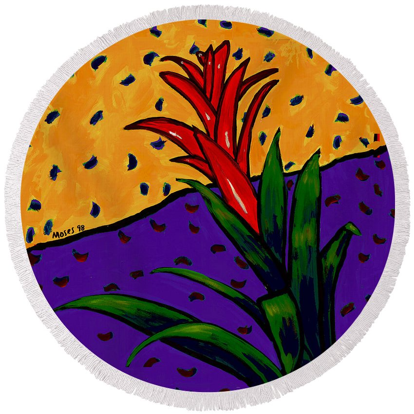 Bromeliad Round Beach Towel featuring the painting Bromeliad by Dale Moses