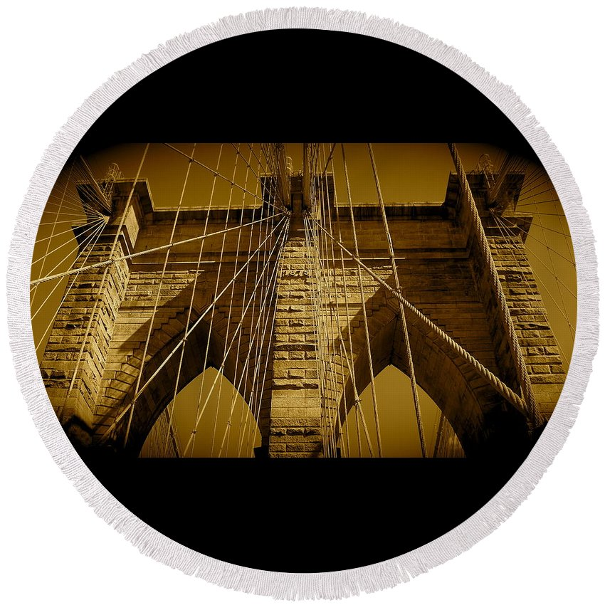 Brooklyn Bridge Prints Round Beach Towel featuring the photograph Brooklyn Bridge by Monique's Fine Art