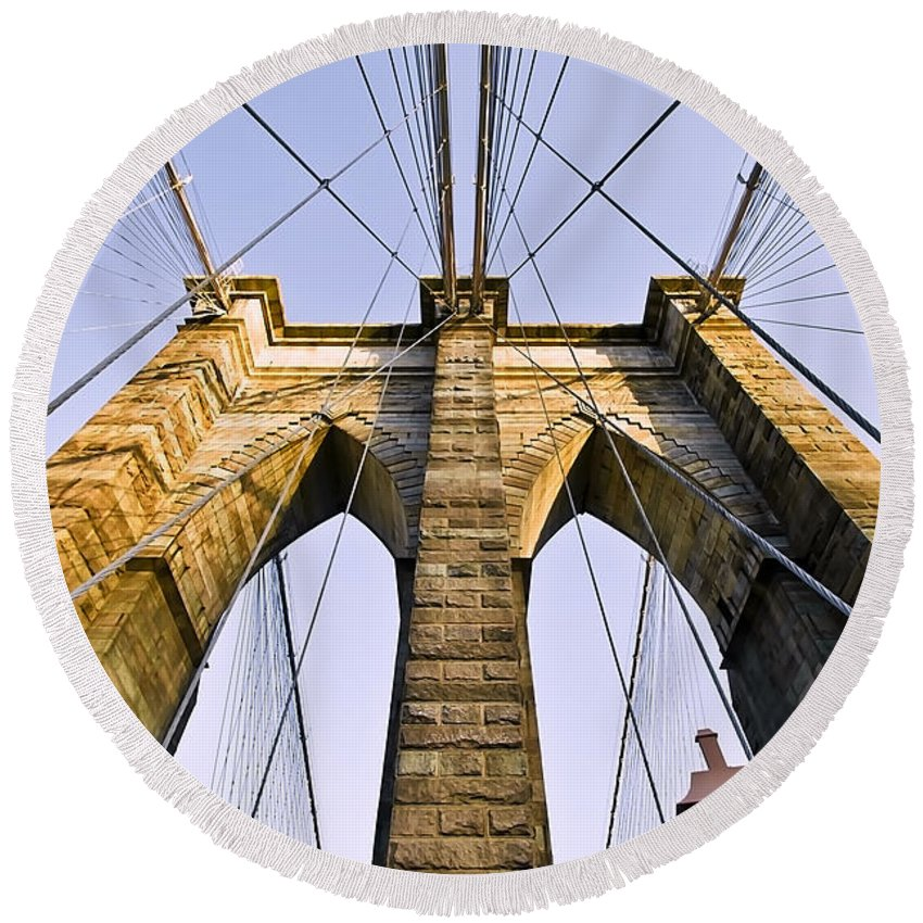 America Round Beach Towel featuring the photograph Brooklyn Bridge01 by Svetlana Sewell