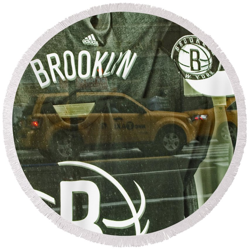 Brooklyn Nets Round Beach Towel featuring the photograph Brooklyn Nets by Karol Livote
