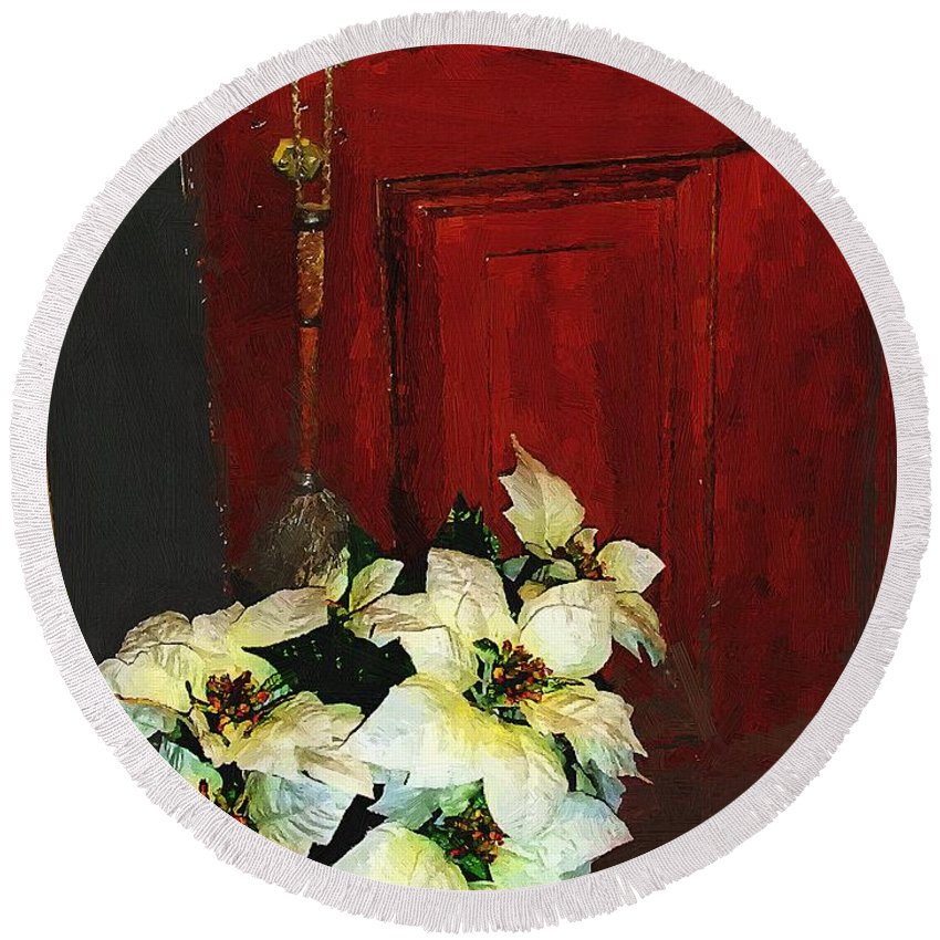 Antiques Round Beach Towel featuring the painting Broom Closet Christmas by RC DeWinter