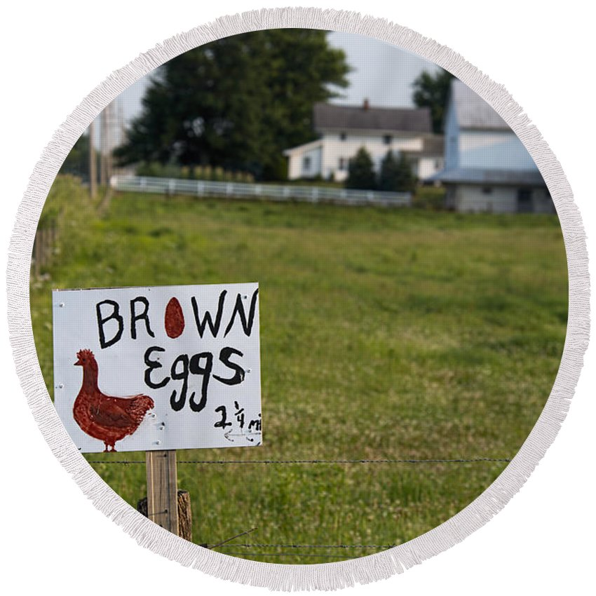 Brown Eggs Round Beach Towel featuring the photograph Brown Eggs by David Arment