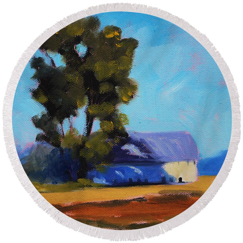 Barn Round Beach Towel featuring the painting Brown Farm Landscape by Nancy Merkle