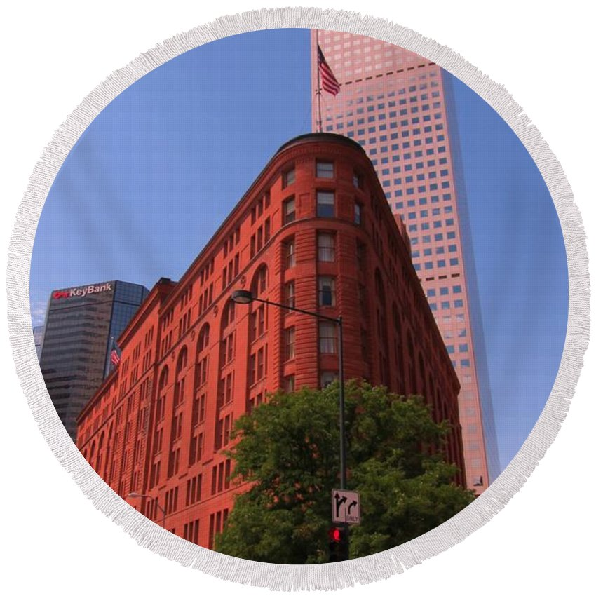 Brown Palace Hotel Round Beach Towel featuring the photograph Brown Palace Hotel In Denver Colorado by John Malone