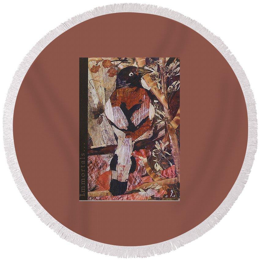 Brown-white-bird Round Beach Towel featuring the mixed media Brown- White Bird by Basant Soni