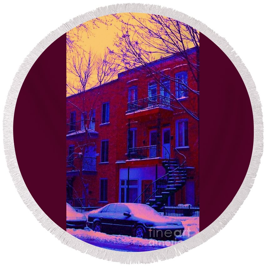 Montreal Round Beach Towel featuring the photograph Brownstones In Winter 6 by Carole Spandau