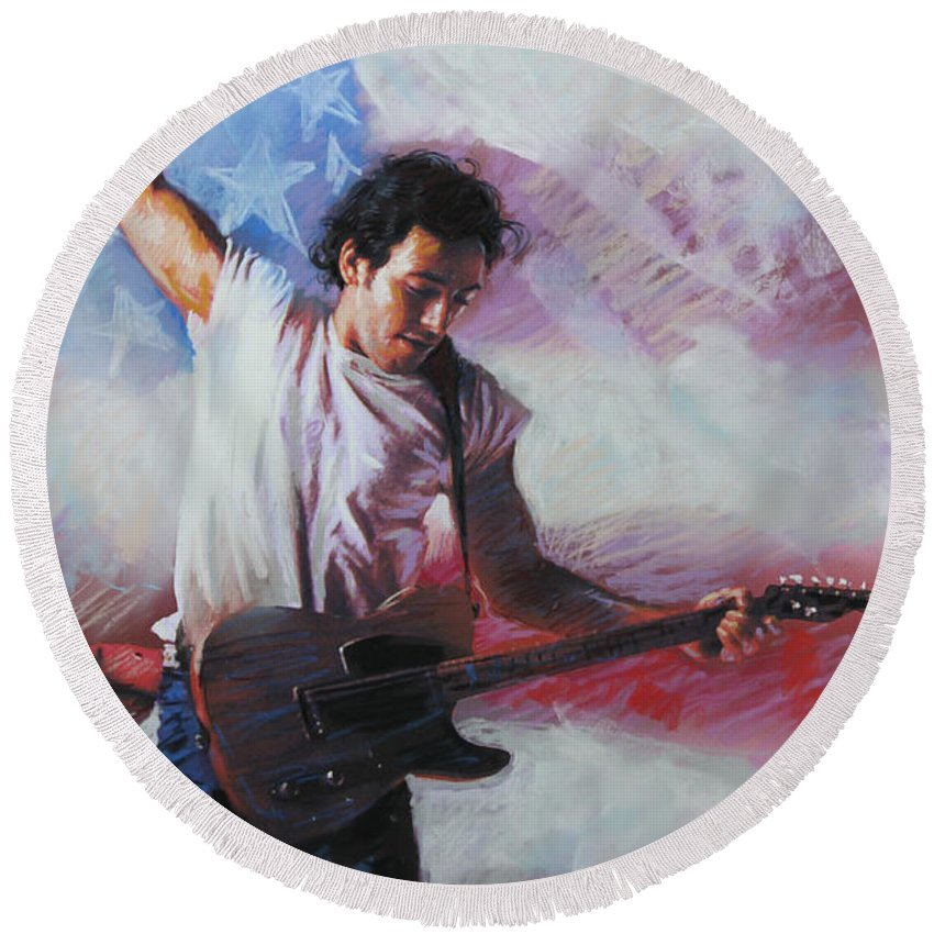 Singer Round Beach Towel featuring the mixed media Bruce Springsteen The Boss by Viola El