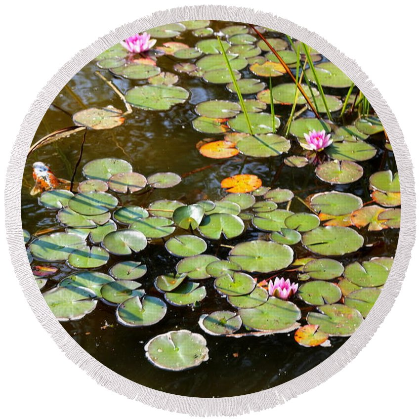 Bruges Round Beach Towel featuring the photograph Bruges Lily Pond by Carol Groenen