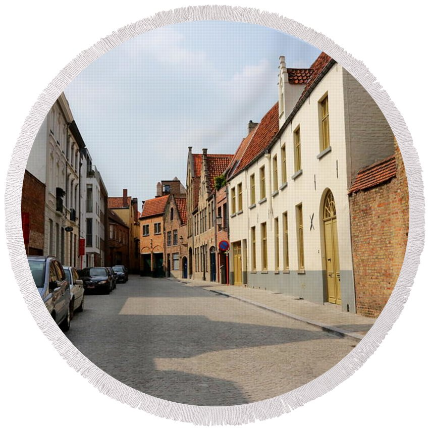 Bruges Round Beach Towel featuring the photograph Bruges Side Street by Carol Groenen