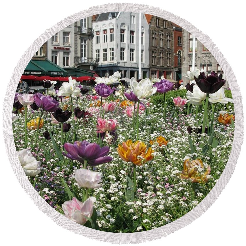 Brugge Round Beach Towel featuring the photograph Brugge In Spring by Ausra Huntington nee Paulauskaite