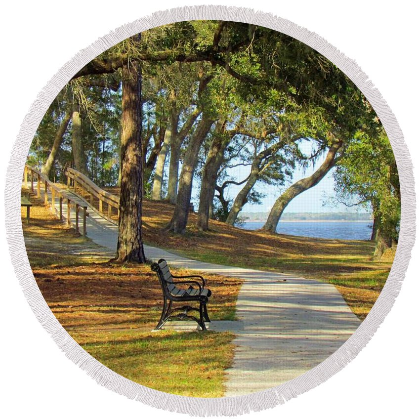 Woods Round Beach Towel featuring the photograph Brunswick Town by Cynthia Guinn